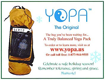 YOPA Ads - a combination yoga Pilates sport utility back pack.