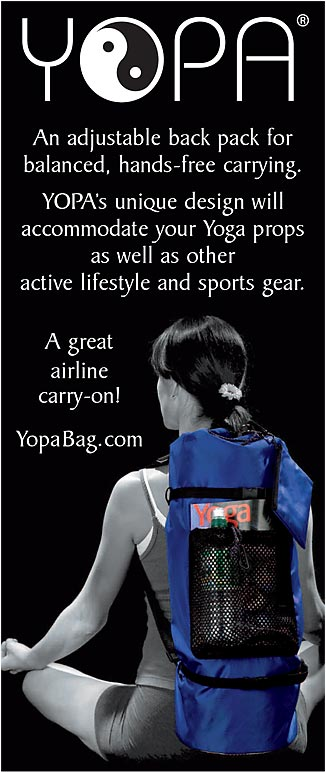 YOPA Ads - a combination yoga back pack, Pilates back pack, sports back pack.