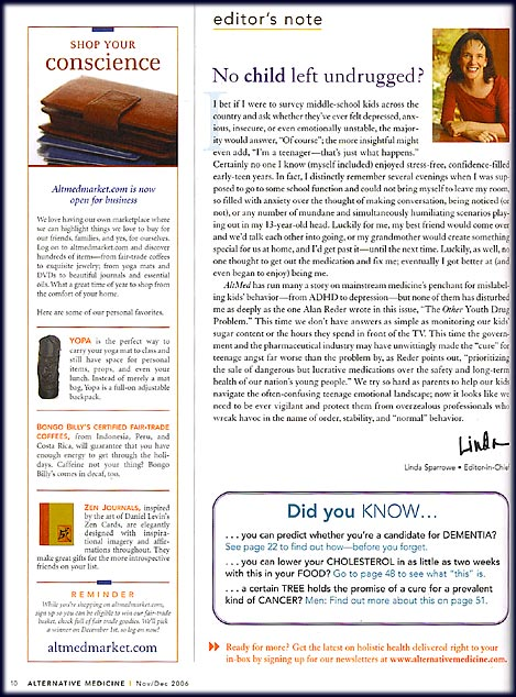 YOPA, Alternative Medicine, December 2006, page 10, yoga backpack.