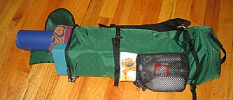 YOPA yoga pack holds mat plus Pilates blocks and other sports gear.