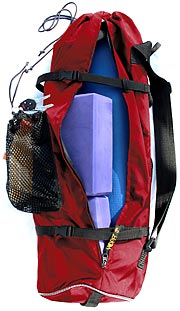 Red YOPA yoga backpack,  sports backpack,  crossover  backpack.