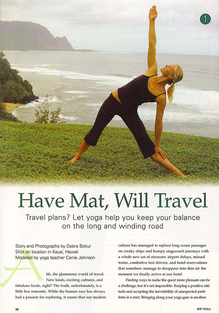 YOPA in Fit Yoga Magazine, August 2005 - yoga Pilates backpack.