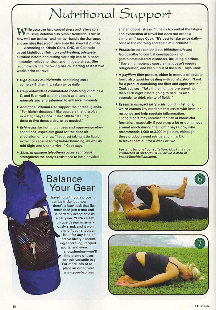 YOPA in Fit Yoga Magazine, August 2005 - Pilates yoga back pack.