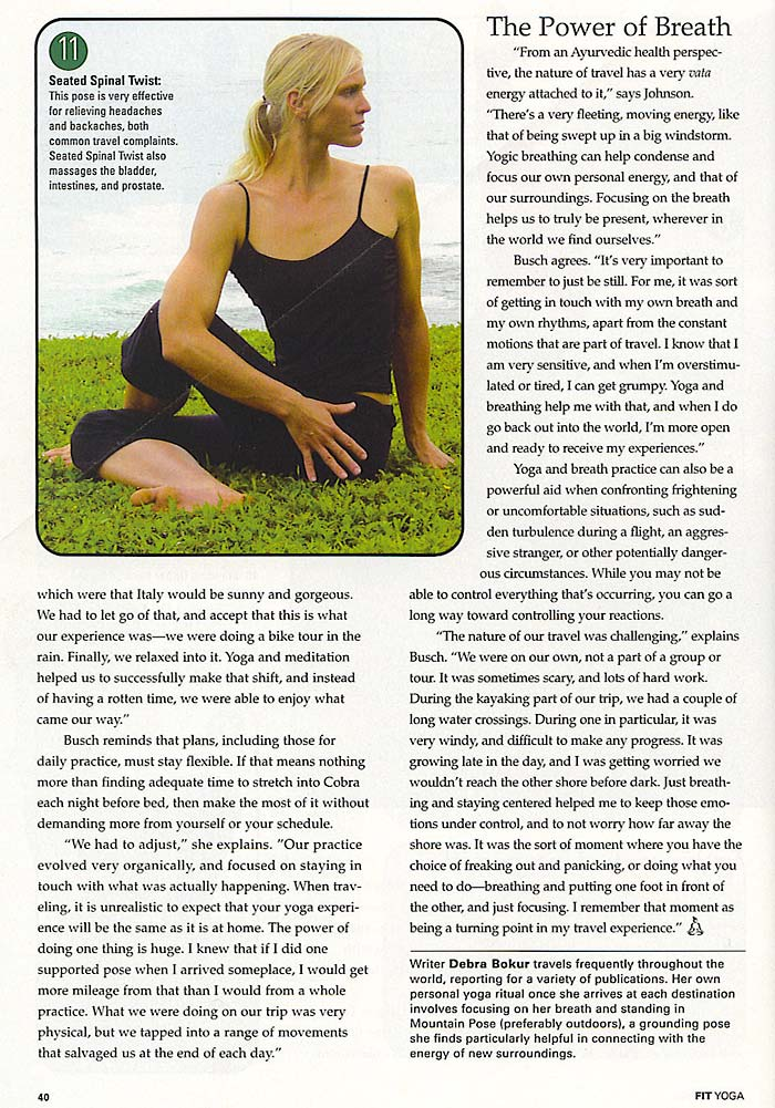 YOPA in Fit Yoga Magazine, August 2005 - crossover back pack.