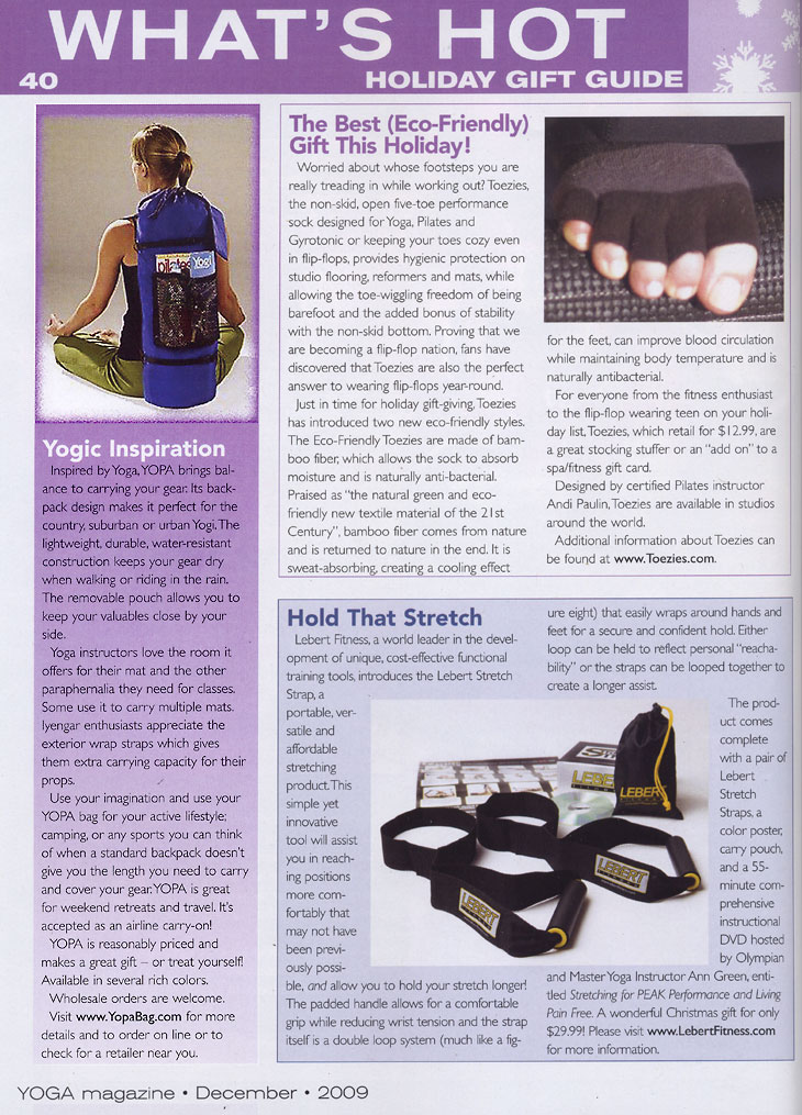 YOGA magazine, December, 2009 - YOPA cross over yoga back pack.