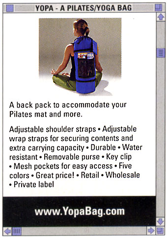 pilatesstyle 2008 Resource Guide - yoga Pilates sport backpack.