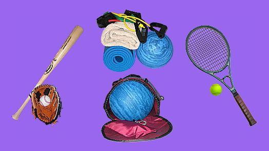 Yoga back pack can carry ball sports equipment, racquet sports equipment.