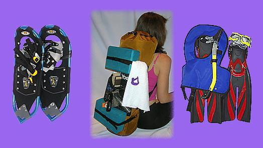 Yoga back pack can carry snowshoe / snowshoeing equipment, snorkel / snorkeling equipment.