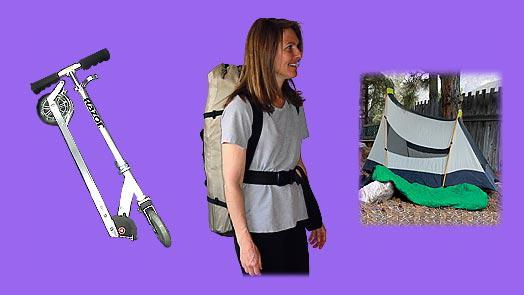 Yoga backpack  can carry folding scooter, hike / hiking equipment, camp / camping equipment.