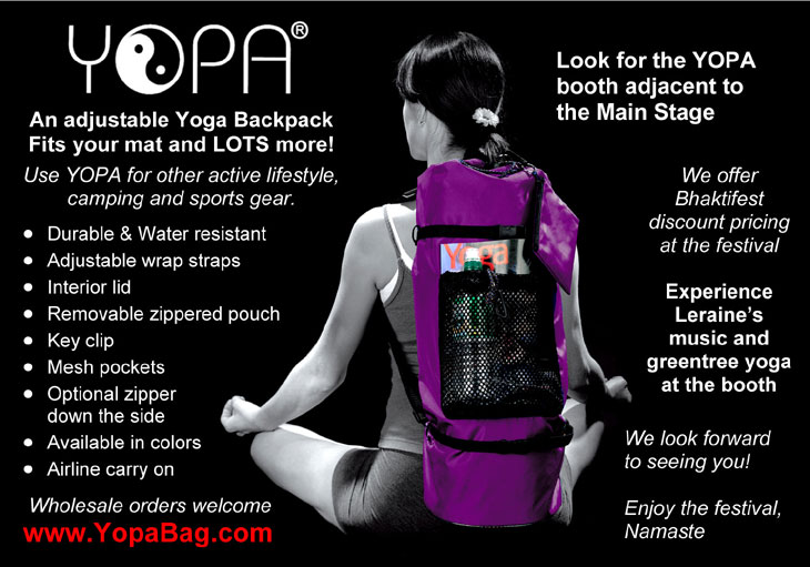 Bhaktifest October 2010 - crossover yoga Pilates backpack.